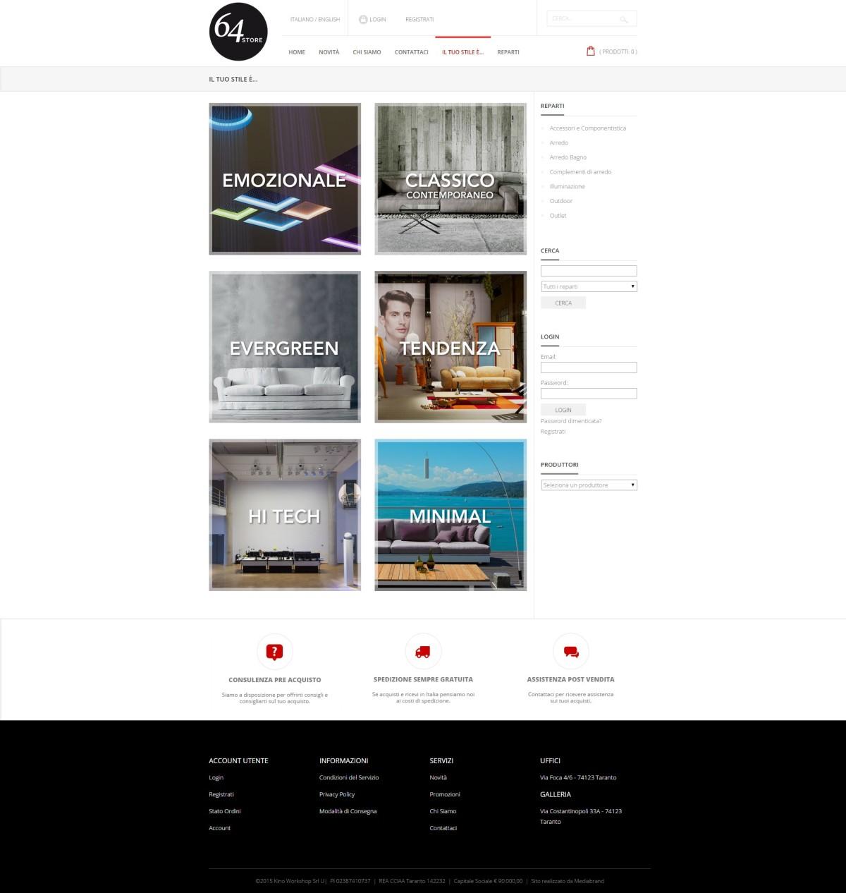 Realizzazione e commerce taranto sviluppo ecommerce for E commerce arredamento